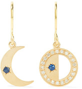 Andrea Fohrman Crescent Moon 18-karat Gold, Sapphire And Diamond Earrings - one size