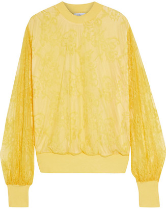 Clu Paneled Chantilly Lace And French Terry Sweatshirt