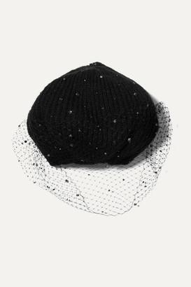 Jennifer Behr Crystal-embellished Mesh And Mohair Beret - Black