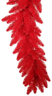 Vickerman Red Plastic 9-feet x 14-inches Fir Garland With 100 Red Dura-Lit Lights and 250 Tips