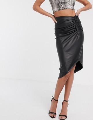 Asos Design DESIGN leather look wrap midi skirt with corset detail-Black