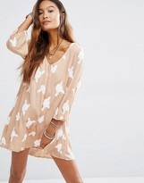 Honey Punch Sheer V Neck Dress With Embellishment