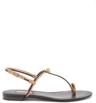 Fabrizio Viti - Daisy-applique Leather Sandals - Womens - Black Nude