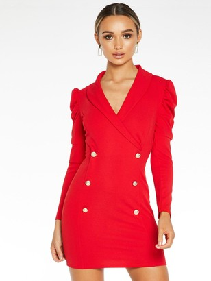 Quiz Scuba Crepe Ruche Long Sleeve Bodycon Dress - Red
