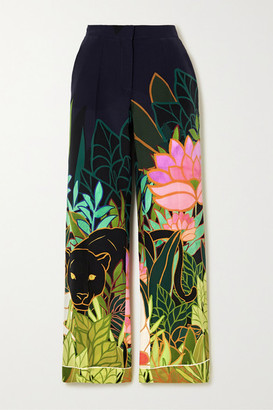 Valentino Printed Silk Crepe De Chine Wide-leg Pants - Navy