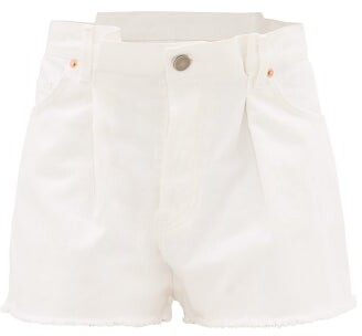 Raey Fold Raw-hem Denim Shorts - Womens - White