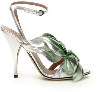 Marco De Vincenzo Laminated Leather Sandals With Flower