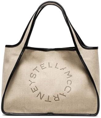 Stella McCartney Beige Logo Linen Tote Bag