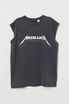 H&M Raw-edged Sleeveless T-shirt - Black