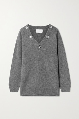 Christopher Kane Crystal-embellished Cashmere And Silk-blend Sweater - Dark gray