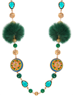 Dolce & Gabbana Daisy fur and crystal-embellished necklace