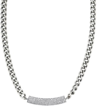 Sheryl Lowe Curb Chain Necklace With Pave Diamond Bar