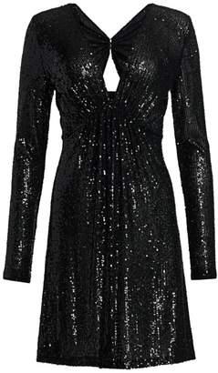 Naeem Khan V-Neck Long-Sleeve Sequin Cocktail Dress