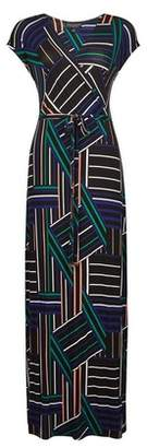 Dorothy Perkins Womens Multi Coloured Wrap Belted Jersey Maxi Dress