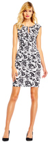 Adrianna Papell AP1D100953 Floral Print V-Neck Sheath Dress