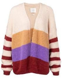Ya-Ya Blockstripe Cardigan Knitwear Cherry - XS