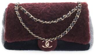 Chanel Pre-Fall 2019 Burgundy & Blue Shearling Flap Bag Nm