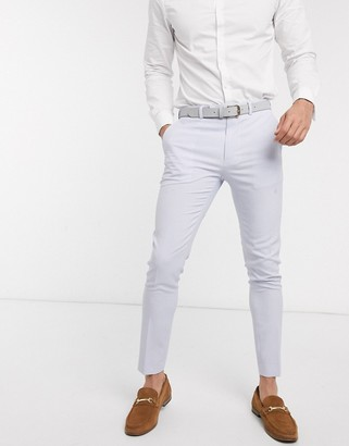 ASOS DESIGN wedding super skinny suit trousers in lilac crosshatch