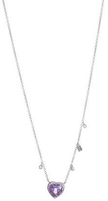 Meira T 14K White Gold Pave Diamond Halo Amethyst Heart Pendant Necklace