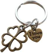 JewelryEveryday Four Leaf Clover Keychain with I Love You Heart Charm - Lucky to Have You