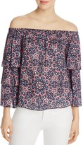 Ella Moss Mosaic Print Off-the-Shoulder Top