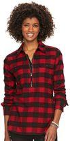 Chaps Women's 1/2-Zip Plaid Twill Shirt