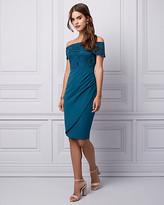 Le Château Lace & Knit Crêpe Off-the-Shoulder Dress