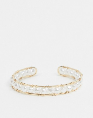 Topshop cuff bangle in all over faux pearl