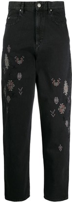 Etoile Isabel Marant Embroidered High-Waisted Jeans