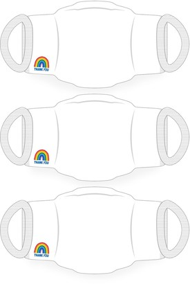 Little Mistress X Kindred Rainbow Thank You Nhs White Face Mask 2-Layer / Soft Touch For Adults -Pack of 10
