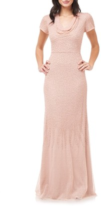 JS Collections Cowl Neck Beaded Mesh Gown