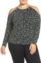 MICHAEL Michael Kors Plus Size Women's Print Braid Neck Cold Shoulder Top
