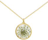 Catherine Weitzman 18ct Gold Plated Small Round Queen Anne's Lace Flower Pendant Necklace, Gold/White