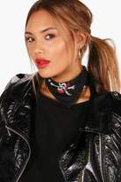 boohoo Lea Skull & Cross Bones Neck Tie Headscarf