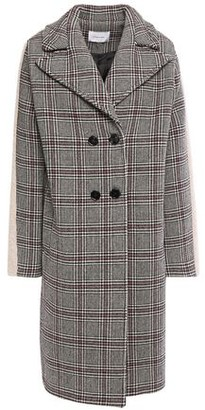 Carven Double-breasted Faux Fur-trimmed Prince Of Wales Checked Wool-blend Coat