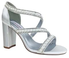 Dyeables Imitation Pearl Linda Block Heel Sandal Women's Shoes