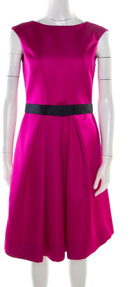 Carolina Herrera Fuchsia Sleeveless Belted Fit and Flare Dress S