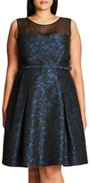 City Chic Plus Size Women's 'After Dark' Lace Fit & Flare Dress