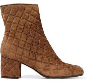 Gianvito Rossi Quilted Suede Ankle Boots