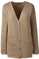 Lands' End Women's Merino V-neck Cardigan Sweater-Soft Mauve
