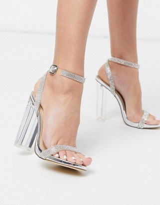 Truffle Collection embellished clear block heeled sandals in silver