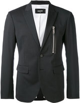 DSQUARED2 zipped pocket blazer - men - Cotton/Calf Leather/Polyester/Virgin Wool - 46