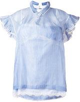 Sacai striped frill-trim blouse - women - Silk/Cotton/Nylon - II