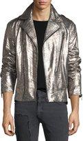 Just Cavalli Crackled Leather Biker Jacket