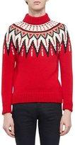 Saint Laurent Fair Isle Mock-Neck Sweater, Red Multi