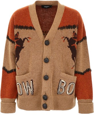 DSQUARED2 Oversized Cardigan With Intarsia