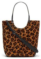 Elizabeth and James Cynnie Animal-Print Calf Hair Shopper Bag, Cognac/Black