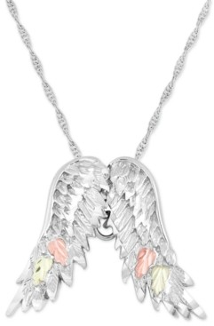 """Black Hills Gold Wing Pendant 18"""" Necklace in Sterling Silver with 12K Rose and Green Gold"""