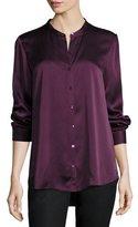 Eileen Fisher Silk Mandarin-Collar Shirt, Black