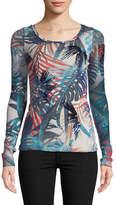 Fuzzi Jungle-Print Sequin Embroidered Top